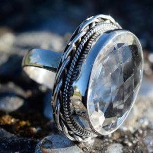 Argent massif 925 et Quartz translucide cristal de roche