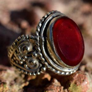 Bague homme pierre cornaline style ethnique agate rouge
