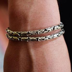 Bracelet double Snake homme grosse maille torsadée