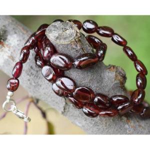 Collier de vraies pierres naturelles de grenats rouges